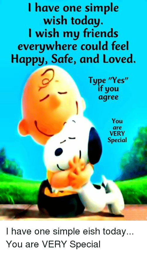 """Friends, Memes, and Happy: I have one simple  wish today.  I wish my friends  everywhere could feel  Happy, Safe, and Loved  Type """"Yes""""  if you  agree  You  are  VERY  Special I have one simple eish today... You are VERY Special"""