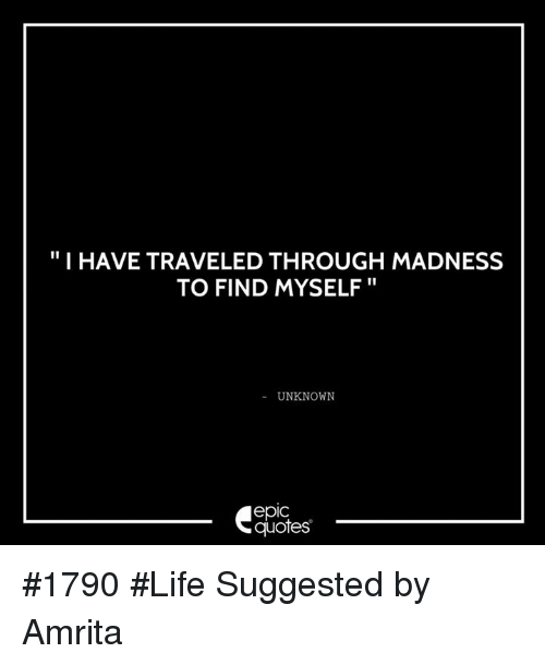 I Have Traveled Through Madness To Find Myself Unknown Epic Quotes