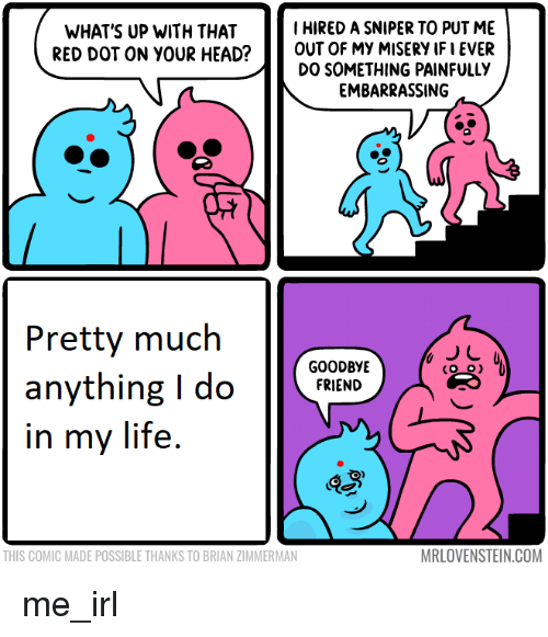 Head, Life, and Irl: I HIRED A SNIPER TO PUT ME  WHAT'S UP WITH THAT  RED DOT ON YOUR HEAD?OUT OF MY MISERY IF I EVER  DO SOMETHING PAINFULLY  EMBARRASSING  Pretty much  anything i do  in my life.  GOODBYE  FRIEND  ae  THIS COMIC MADE POSSIBLE THANKS TO BRIAN ZIMMERMAN  MRLOVENSTEIN.COM me_irl
