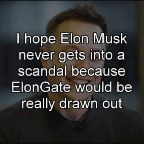 Scandal, Hope, and Never: I hope Elon Musk  never gets into a  scandal because  ElonGate would be  really drawn out