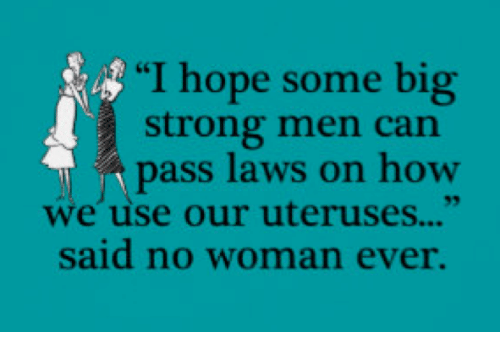 "Memes, Strong, and Hope: ""I hope some big  strong men can  pass laws on how  we use our uteruses...""  said no woman ever."