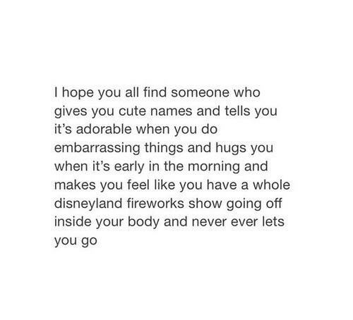 Cute, Disneyland, and Fireworks: I hope you all find someone who  gives you cute names and tells you  it's adorable when you do  embarrassing things and hugs you  when it's early in the morning and  makes ave a whole  disneyland fireworks show going off  inside your body and never ever lets  you go  you feel like you h