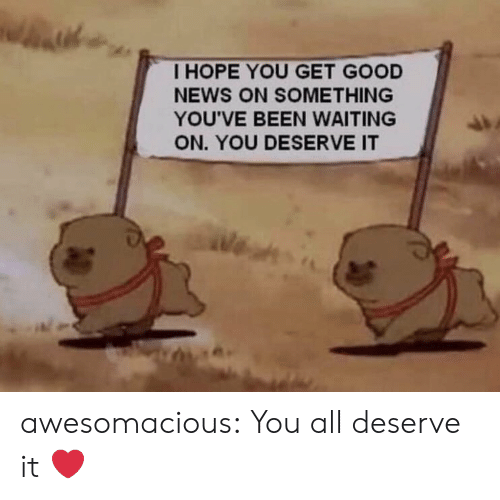 News, Tumblr, and Blog: I HOPE YOU GET GOOD  NEWS ON SOMETHING  YOU'VE BEEN WAITING  ON. YOU DESERVE IT  (苔 awesomacious:  You all deserve it ❤️