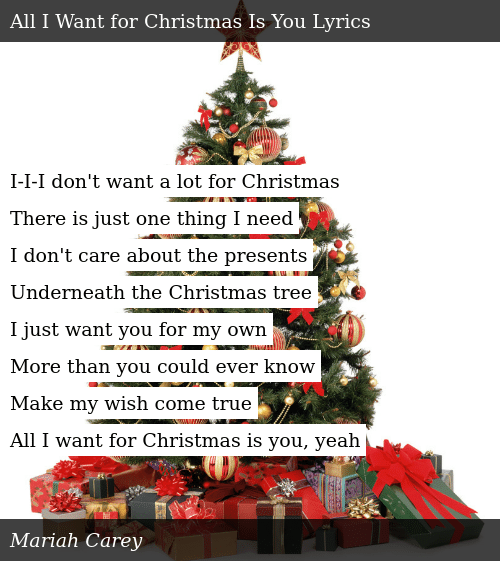 Mariah Carey All I Want For Christmas Is You Lyrics.I I I Don T Want A Lot For Christmas There Is Just One Thing