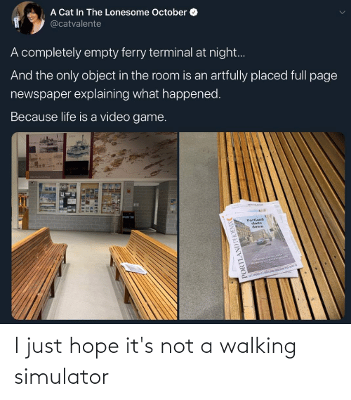Hope, Walking, and Just: I just hope it's not a walking simulator