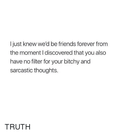 Friends, Forever, and Girl Memes: I just knew we'd be friends forever from  the moment I discovered that you also  have no filter for your bitchy and  sarcastic thoughts. TRUTH