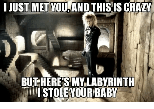 Crazy, Memes, and Baby: I JUST MET YOU,AND THISIS CRAZY  BU HERE'S MYLABYRINTU  ISTOLEYOUR BABY