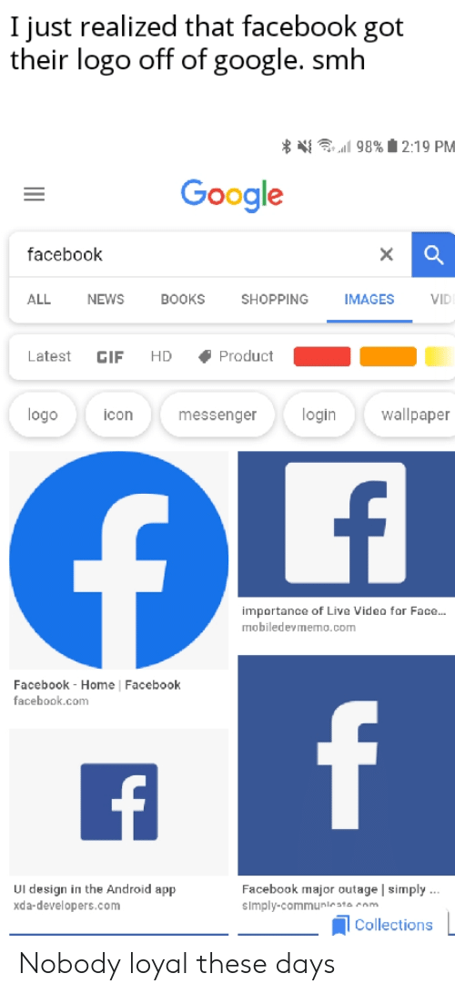 I Just Realized That Facebook Got Their Logo Off of Google