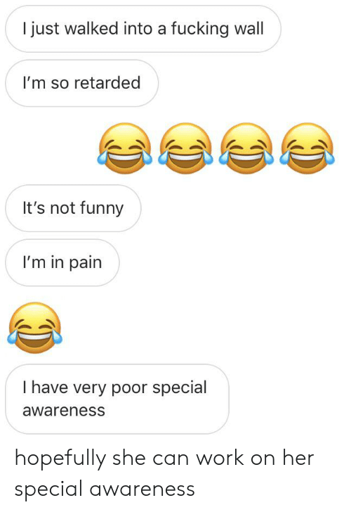 I Just Walked Into A Fucking Wall I M So Retarded It S Not