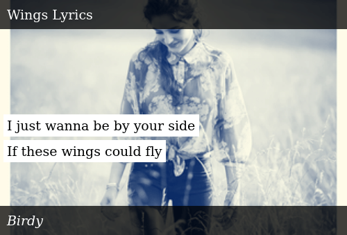 I Just Wanna Be by Your Side if These Wings Could Fly