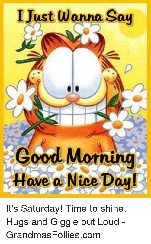 I Just Wanna Say Good Morning Have A Nice Day Its Saturday Time To