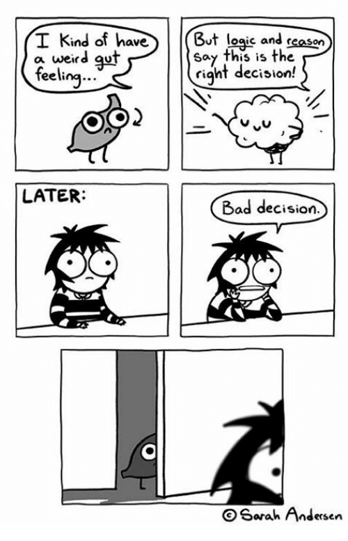 Bad, Memes, and Weird: I Kind of haveBut loaic and reason  a weird gut  Say this is the  riqht decision!  0  eelina  2  LATER:  Bad decision.  b0o  Sarah Andersen