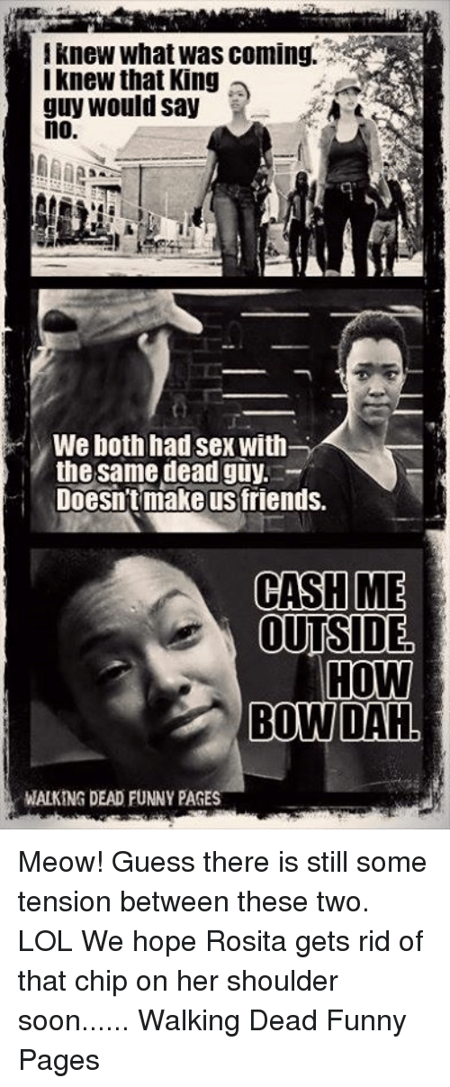 Memes, 🤖, and Chips: I knew What was coming.  I knew that King  guy would say  no.  We both had sex with  the same dead guy.  Doesn't make us friends.  CASH ME  OUTSIDE  HOW  BOW DAH  WALKING DEAD FUNNY PAGES Meow! Guess there is still some tension between these two. LOL We hope Rosita gets rid of that chip on her shoulder soon......    Walking Dead Funny Pages