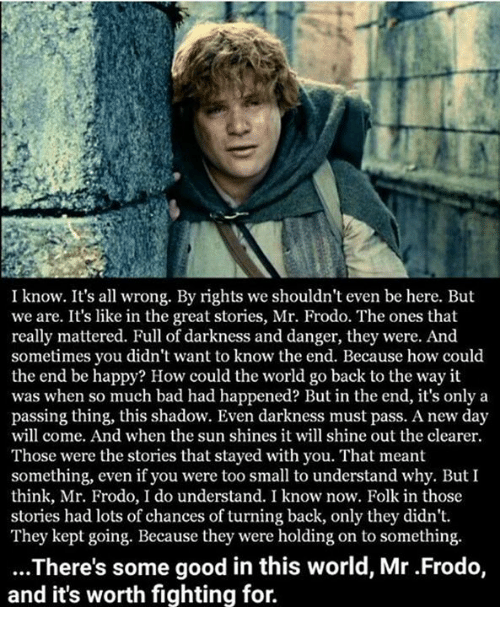 Bad, Memes, and Good: I know. It's all wrong. By rights we shouldn't even be here. But  we are. It's like in the great stories, Mr. Frodo. The ones that  really mattered. Full of darkness and danger, they were. And  sometimes you didn't want to know the end. Because how could  the end be happy? How could the world go back to the way it  was when so much bad had happened? But in the end, it's only a  passing thing, this shadow. Even darkness must pass. A new day  will come. And when the sun shines it will shine out the clearer.  Those were the stories that stayed with you. That meant  something, even if you were too small to understand why. But I  think, Mr. Frodo, I do understand. I know now. Folk in those  stories had lots of chances of turning back, only they didn't  They kept going. Because they were holding on to something.  ...There's some good in this world, Mr .Frodo,  and it's worth fighting for.