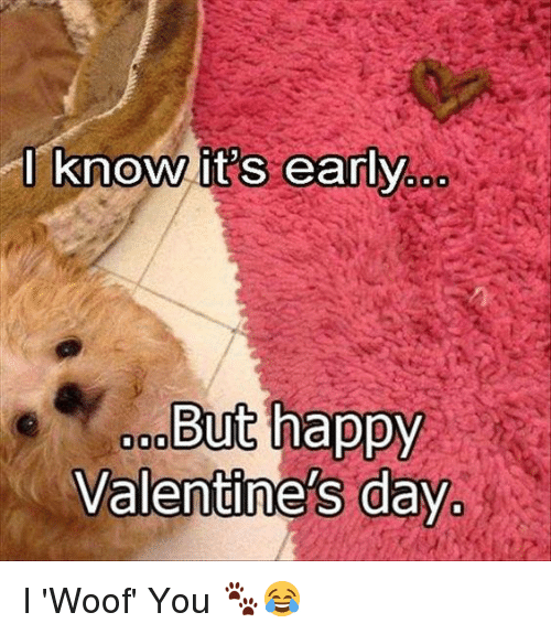 Memes, 🤖, and Valentine Day: I know its early  But happy  Valentine's day I 'Woof' You 🐾😂