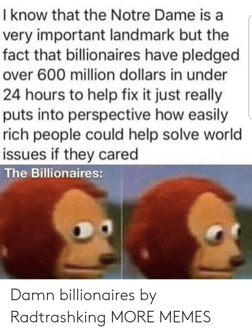 Dank, Memes, and Target: I know that the Notre Dame is a  very important landmark but the  fact that billionaires have pledged  over 600 million dollars in under  24 hours to help fix it just really  puts into perspective how easily  rich people could help solve world  issues if they cared  The Billionaires: Damn billionaires by Radtrashking MORE MEMES