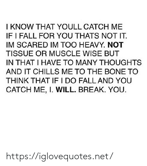 Fall, Break, and Net: I KNOW THAT YOULL CATCH ME  IF I FALL FOR YOU THATS NOT IT.  IM SCARED IM TOO HEAVY. NOT  TISSUE OR MUSCLE WISE BUT  IN THAT I HAVE TO MANY THOUGHTS  AND IT CHILLS ME TO THE BONE TO  THINK THAT IF I DO FALL AND YOU  CATCH ME, I. WILL. BREAK. YOU. https://iglovequotes.net/