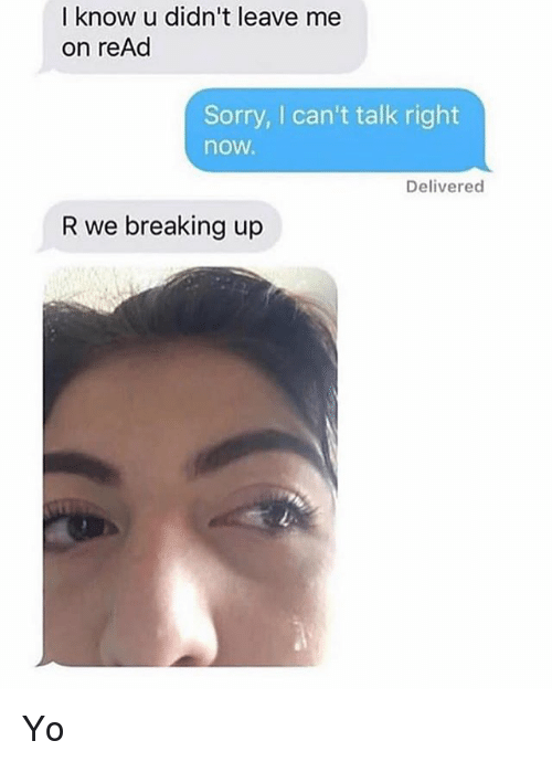 Sorry, Yo, and Girl Memes: I know u didn't leave me  on reAd  Sorry, I can't talk right  now.  Delivered  R we breaking up Yo