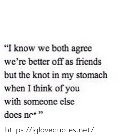 "Friends, Net, and Stomach: ""I know we both agree  we're better off as friends  but the knot in my stomach  when I think of you  with someone else  docs nc'*  + 33 https://iglovequotes.net/"