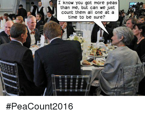 Memes, 🤖, and Counting: I know you got more peas  than me, but can we just  count them all one at a  time to be sure? #PeaCount2016