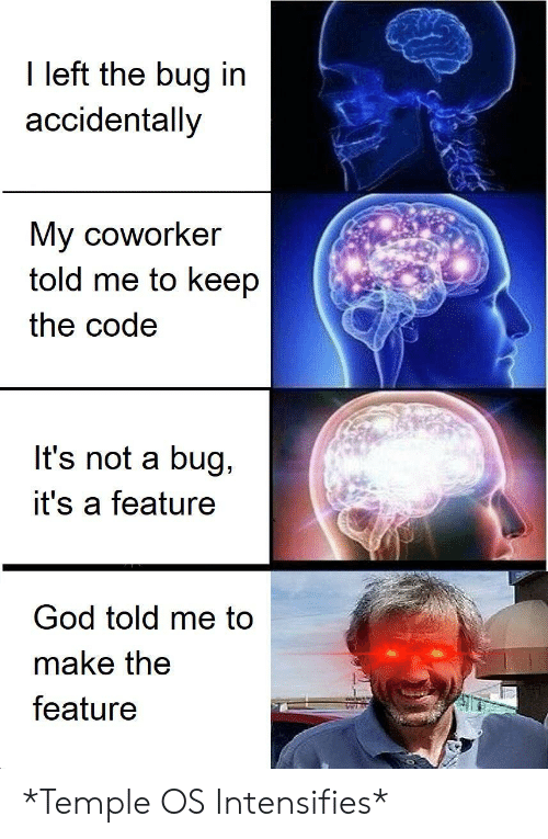 God, Intensifies, and Code: I left the bug in  accidentally  My coworker  told me to keep  the code  It's not a bug,  it's a feature  God told me to  make the  feature *Temple OS Intensifies*