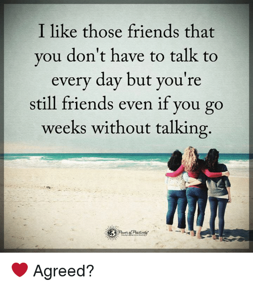 Friends, Memes, and 🤖: I like those friends that  you don't have to talk to  every day but you're  still friends even if you go  weeks without talking. ❤️ Agreed?