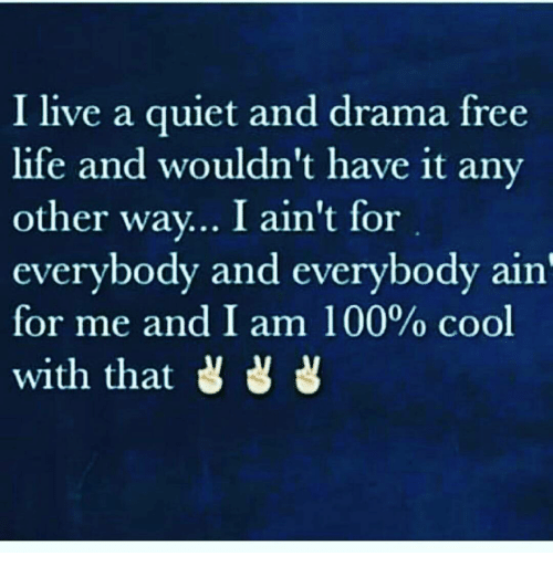 I Live a Quiet and Drama Free Life and Wouldn't Have It Any