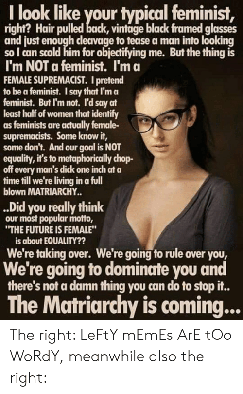 """Future, Memes, and Black: I look like your typical feminist,  right? Hair pulled back, vintage black framed glasses  and just enough cleavage to tease a man into looking  sol can scold him for objectifying me. But the thing is  I'm NOT a feminist. I'm a  FEMALE SUPREMACIST. I pretend  to be a feminist. I say that I'm a  feminist. But I'm not. I'd say at  least half of women that identify  as feminists are actually female-  supremacists. Some know it,  some don't. And our goal is NOT  equality, it's to metaphorically chop-  off every man's dick one inch at a  time till we're living in a full  blown MATRIARCHY..  ..Did you really think  our most popular motto,  """"THE FUTURE IS FEMALE""""  is about EQUALITY??  We're taking over. We're going to rule over you,  We're going to dominate you and  there's not a damn thing you can do to stop i..  The Matriarchy is coming... The right: LeFtY mEmEs ArE tOo WoRdY, meanwhile also the right:"""