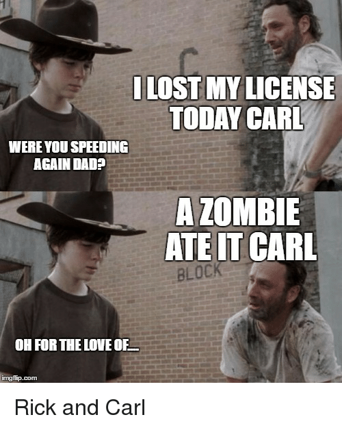 i lost my license today carl were you speeding again 20001915 walking dead' carl's 10 greatest moments hollywood reporter