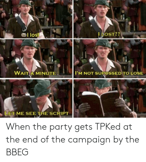 Party, Lost, and DnD: I lost  WAITA MINUTE  TM NOT SUPOSSED TO LOSE  LETME SEE THE SCRIPT When the party gets TPKed at the end of the campaign by the BBEG
