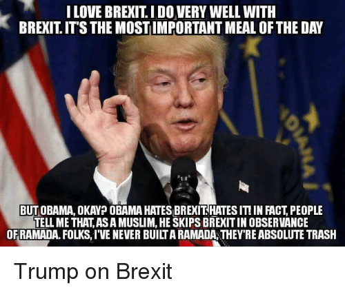 Facts, Love, and Muslim: I LOVE BREXIT IDO VERY WELL WITH  BREXIT ITS THE MOST IMPORTANT MEAL OF THE DAY  BUT OBAMA, OKAY? OBAMA HATESBREXIT HATES ITI IN FACT PEOPLE  TELL METHAT ASA MUSLIM,HESKIPSBREXITIN OBSERVANCE  OF RAMADA. FOLKS,IVE NEVER BUILTARAMADA,THEY'RE ABSOLUTE TRASH Trump on Brexit