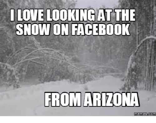 i love looking atthe snow on facebook from arizona memes com 16116184 ✅ 25 best memes about i love snow meme i love snow memes,Snow Meme Images