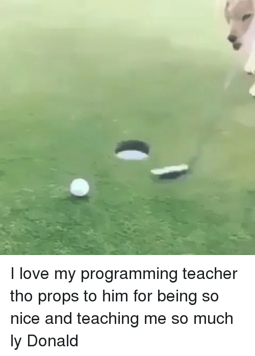 Love, Memes, and Teacher: I love my programming teacher tho props to him for being so nice and teaching me so much ly Donald