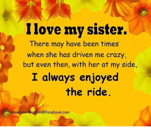 I Love My Sister There May Have Been Times When She Has Driven Me