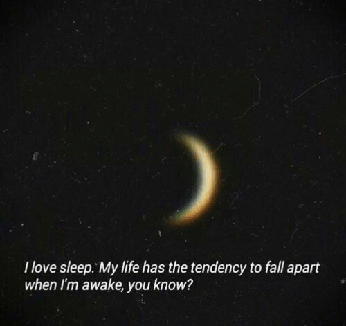 Fall, Life, and Love: I love sleep. My life has the tendency to fall apart  when I'm awake, you know?