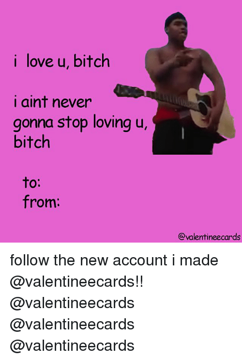 Bitch, Love, and Memes: i love u, bitch  i aint never  gonna stop loving u,  bitch  to:  from:  @valentineecards follow the new account i made @valentineecards!! @valentineecards @valentineecards @valentineecards