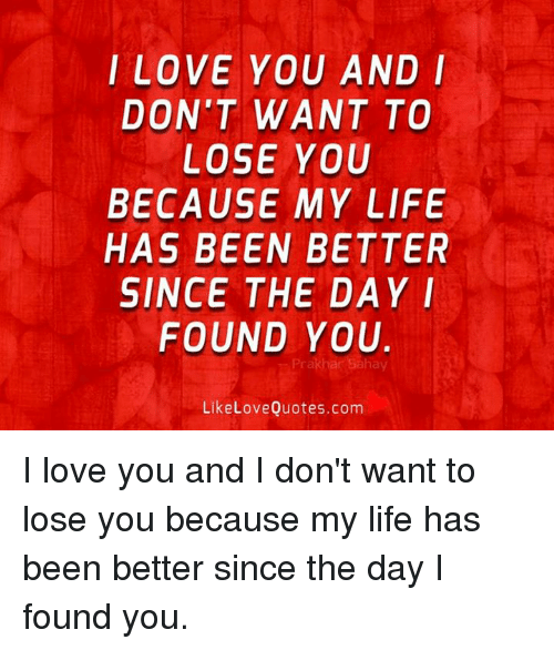 I Love You And I Dont Want To Lose You Because My Life Has Been