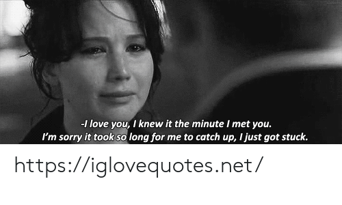 Love, Sorry, and I Love You: -I love you, I knew it the minute I met you.  me to catch up, I just got stuck.  I'm sorry it took so long for https://iglovequotes.net/