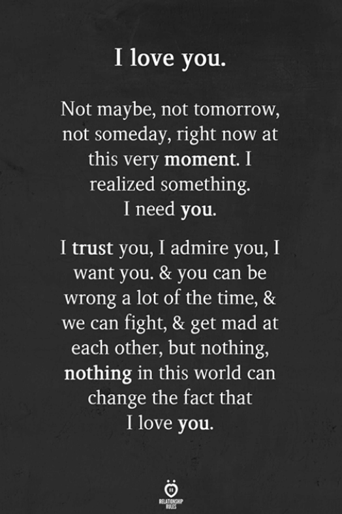 Love, I Love You, and Time: I love you.  Not maybe, not tomorrow,  not someday, right now at  this very moment. I  realized something.  I need you.  I trust you, I admire you, I  want you. & you can be  wrong a lot of the time, &  we can fight, & get mad at  each other, but nothing,  nothing in this world can  change the fact that  I love you.