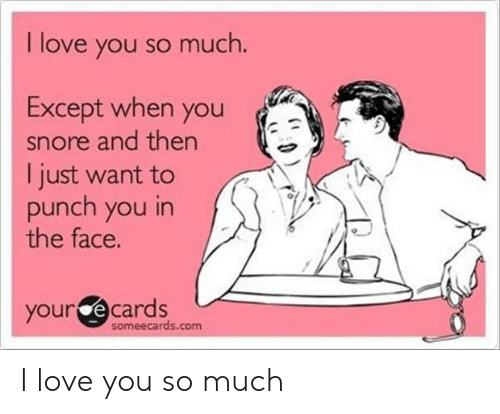 Love, I Love You, and Someecards: I love you so much  Except when you  snore and then  I just want to  punch you in  the face.  your e cards  someecards.com I love you so much