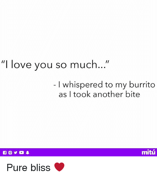 "Love, Memes, and I Love You: ""I love you so much...""  I whispered to my burrito  as I took another bite  mitú Pure bliss ❤️"