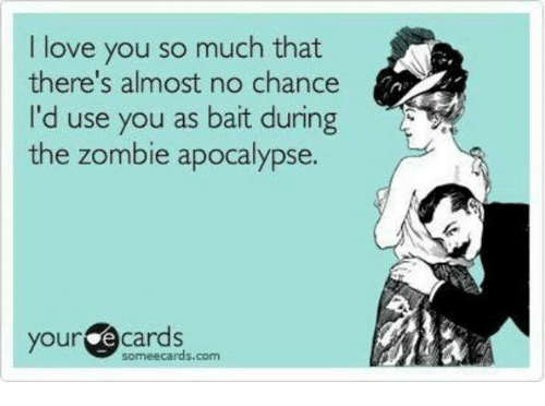 Love, Memes, and Zombies: I love you so much that  there's almost no chance  I'd use you as bait during  the zombie apocalypse.  your  é cards  somee cards.com