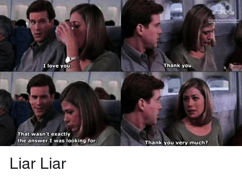 Memes, Liar Liar, and 🤖: I love you  That wasn't exactly  the answer I was looking for.  Thank you.  Thank you very much? Liar Liar
