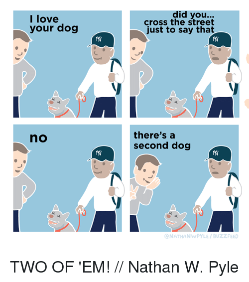 Love, Memes, and Buzzfeed: I love  your dog  did you...  cross the street  just to say that  there'sa  second dog  no  ONATHANWPYLE/BUZZFEED TWO OF 'EM! // Nathan W. Pyle