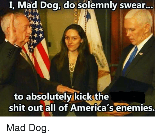 Conservative, Mad Dogs, and Kick: I. Mad Dog, do solemnly swear...  to absolutely kick the  shit America  enemies. Mad Dog.