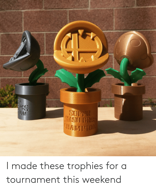 Weekend, Made, and For: I made these trophies for a tournament this weekend