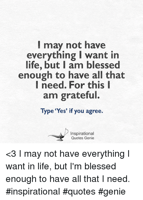 I May Not Have Everything I Want In Life But I Am Blessed Enough To