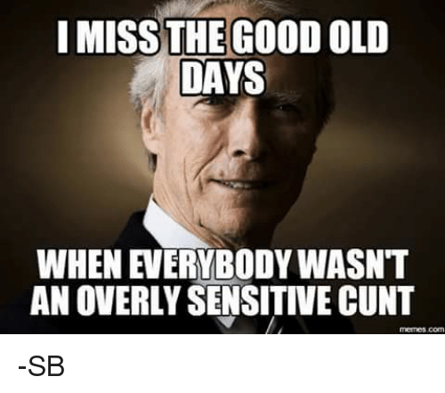 Memes, Cunt, and Good: I MISS THE GOOD OLD  DAYS  AN OVERLY SENSITIVE CUNT -SB