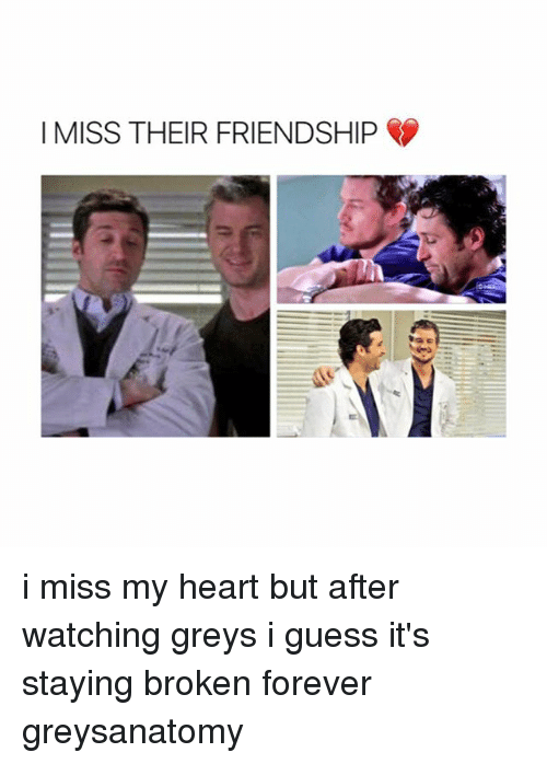 Memes, Forever, and Guess: I MISS THEIR FRIENDSHIP i miss my heart but after watching greys i guess it's staying broken forever greysanatomy