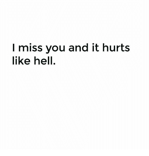 I Miss You And It Hurts Like Hell Meme On Meme